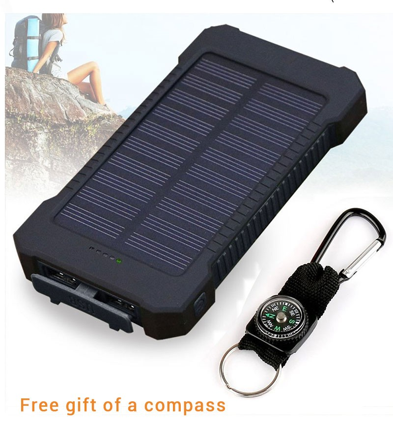 Waterproof Solar Power Bank 30000mAh Portable Solar Charger 2 USB Ports External Charger Powerbank for iPhone X Xiaomi 18650