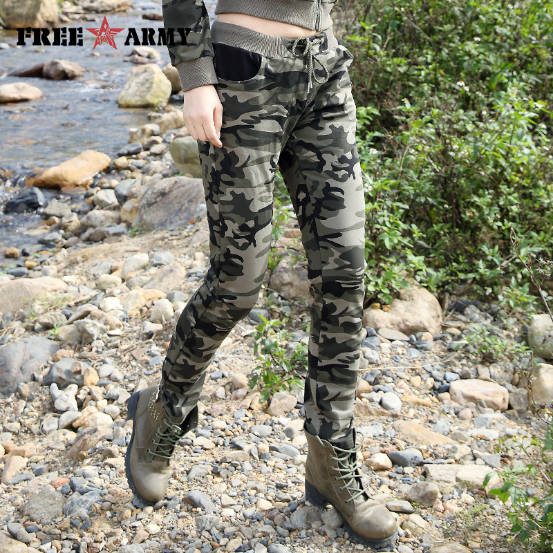 2017 New Spring Army Camouflage Pants Women Slim Pants Ladies Military Trousers Print Elastic Waist Fashion Casual Pants Female  Велюр