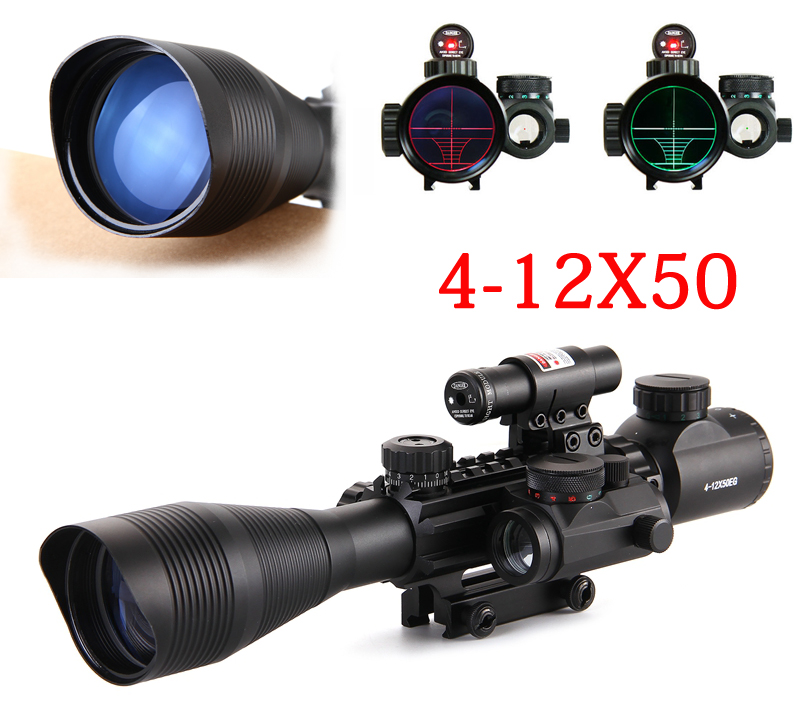 4-12X50 Tactical Optical Rifle Scope Red Green Dual illuminated Mount Fit For 20mm Rail+ Red Laser Sight + Holographic Dot Sight tactical 5mw 650nm red laser dot rifle scope sight for 20mm gun gauge black
