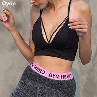 Oyoo Profunda V Alto Apoyo de Yoga Ropa Interior Sujetador Deportivo Acolchado 4 del Respaldo con Correas de Entrenamiento Resistente A Las Sacudidas de Las Mujeres Blusa Entallada