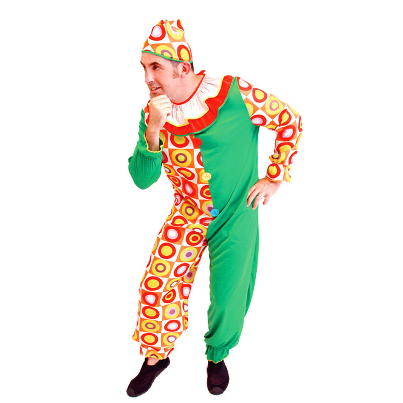 Fantasia Men Halloween circus clown Costumes Funy Joker Cosplay Droll Role play April Fool 's Day Stage show Rave party dress