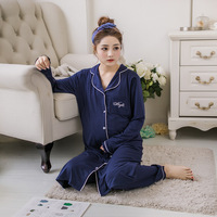 Cotton Gestation Pajamas Sets Cardigan+Trousers Maternity Sleepwear Turn down Collar Lounge Pregnant Women Nursing Nightgown