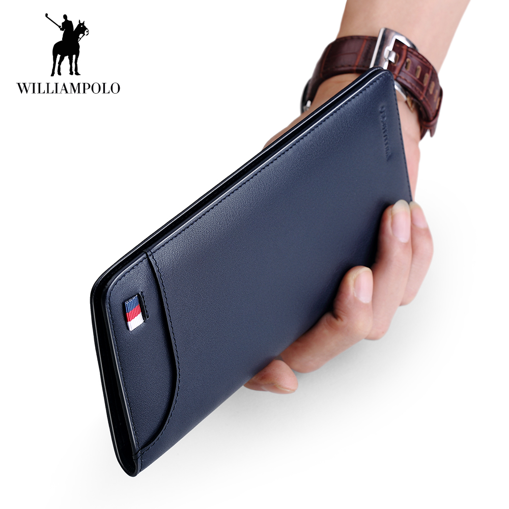 WilliamPOLO New Ultrathin Slim Long Clutch Bag Credit Card Holder Men Wallet Genuine Leather Handbag Multi Card Case Cash Purse