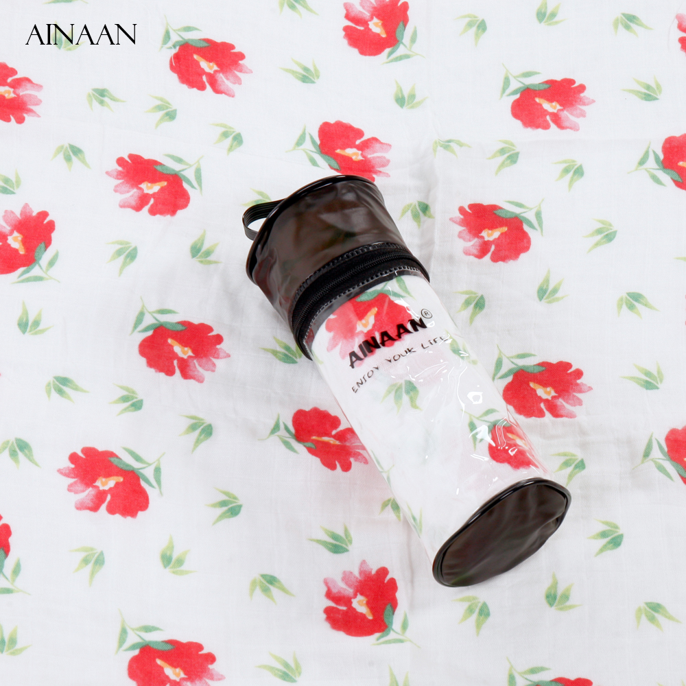 AINAAN Baby Blanket Muslin Swaddle Wraps Cotton Bamboo Baby Blankets Newborn Bamboo Muslin Blankets Color Red Flowers cotton lamb fleece blanket 115 115cm 100% cashmere double face blankets nordic style