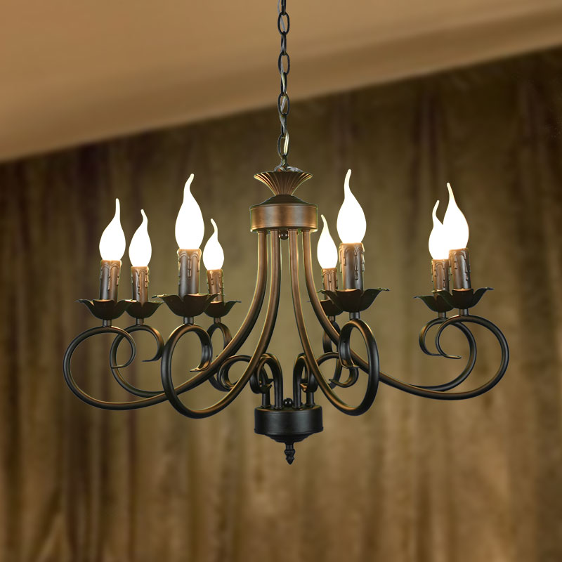 Black copper iron chandelier e14 lights lights european for Black dining room chandelier