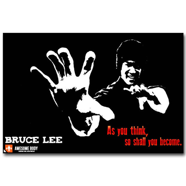 Poster Bruce Lee Motivational Quote Wall Art Canvas Painting Super Kung Fu Star Inspirational Picture For