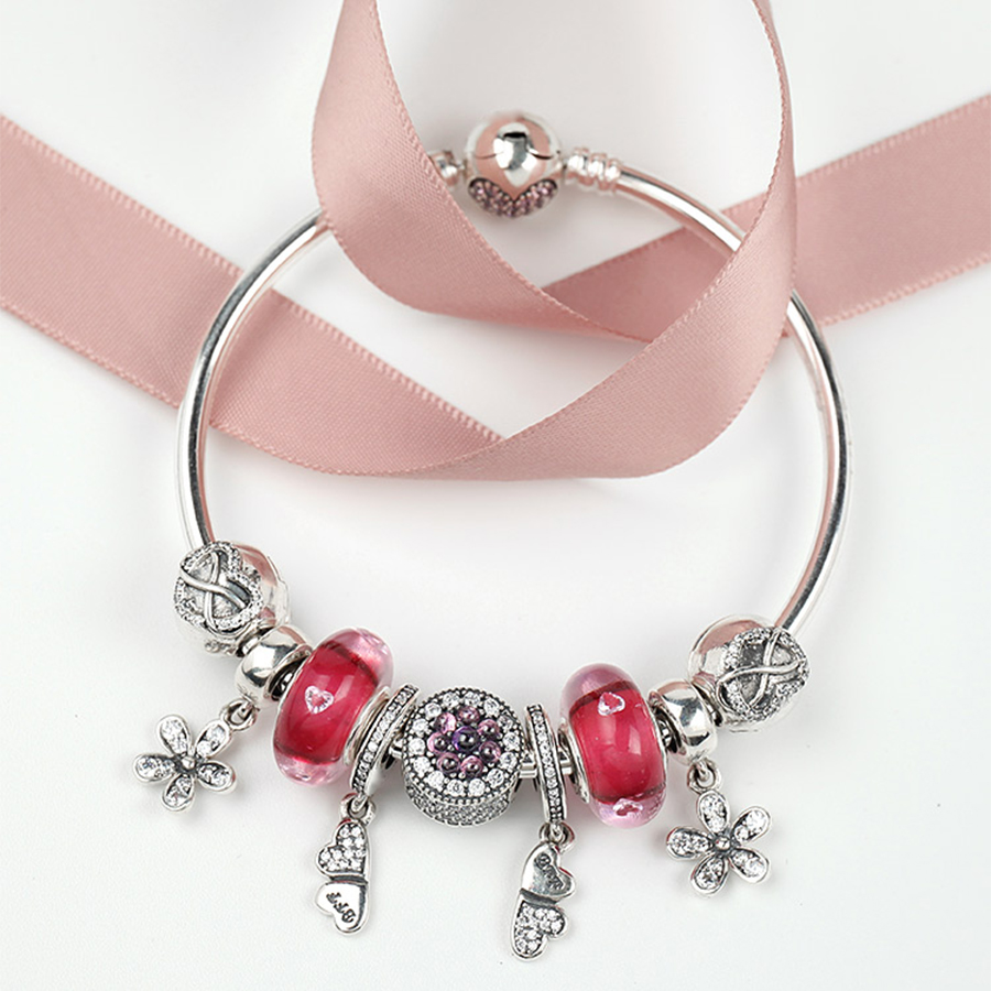 NEW 100% 925 Sterling Silver Brand New 1:1 Genuine Dazzling Flower Daisy Charm Bracelet Cherry Red Love Ladies Bracelet SetNEW 100% 925 Sterling Silver Brand New 1:1 Genuine Dazzling Flower Daisy Charm Bracelet Cherry Red Love Ladies Bracelet Set