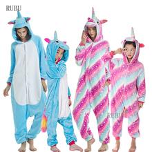 Kigurumi chłopcy dziewczęta jednorożec piżamy zwierząt Panda piżamy damskie Onesie dzieci kombinezon śpiące koc piżamy zimowe kombinezony tanie tanio sumioon Poliester Cartoon unicorn pajamas Unisex Pasuje prawda na wymiar weź swój normalny rozmiar Koc podkładów Flanelowe