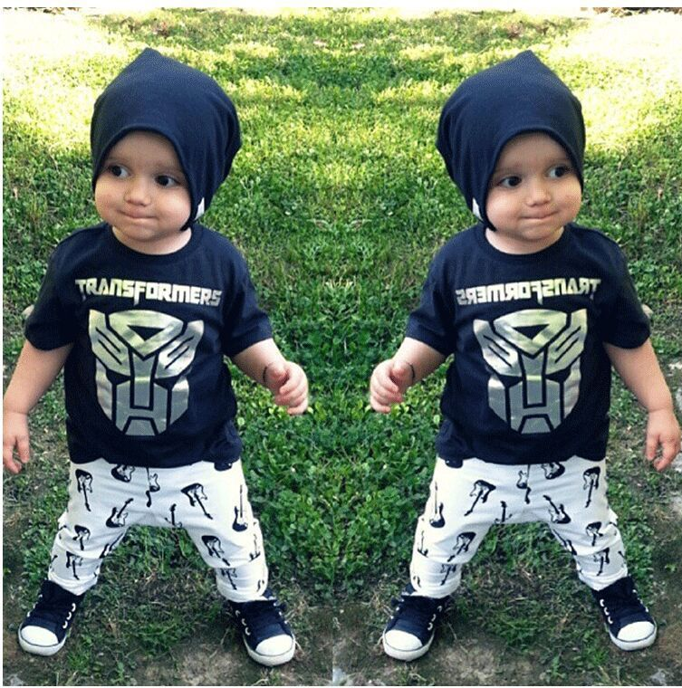 143da4c5b1c2 Hot sale baby boy robot printing clothing sets t shirt + pants cotton  summer suits set for infant boys fashion clothes retail