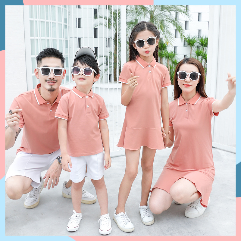 2020 Family Matching Outfits Summer Polo Shirt Mother Daughter Matching Dresses Dad Son Turn Down Collar Family Couple Clothes