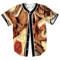 Hombres de Alimentos superior Jersey overshirt Streetwear 3d print camisetas de béisbol de Hip Hop con Un Solo Pecho de verano camisa MÁS del TAMAÑO