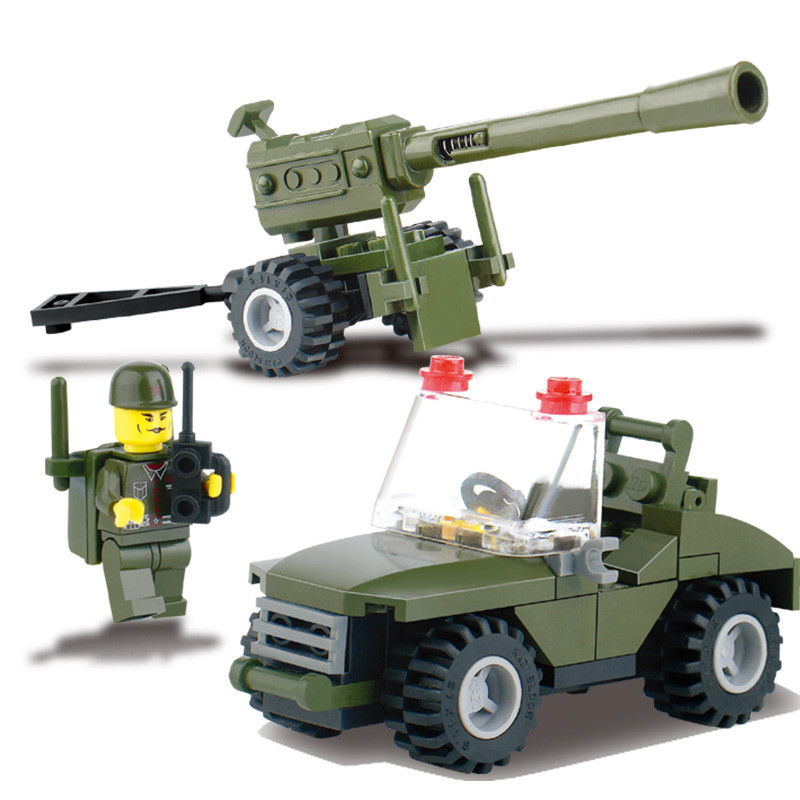 J321 Kids' Favorites!! DIY 93pcs Field Armies Assemble Toy Early Educational Brinquedos Cannon Small Particles Building Blocks
