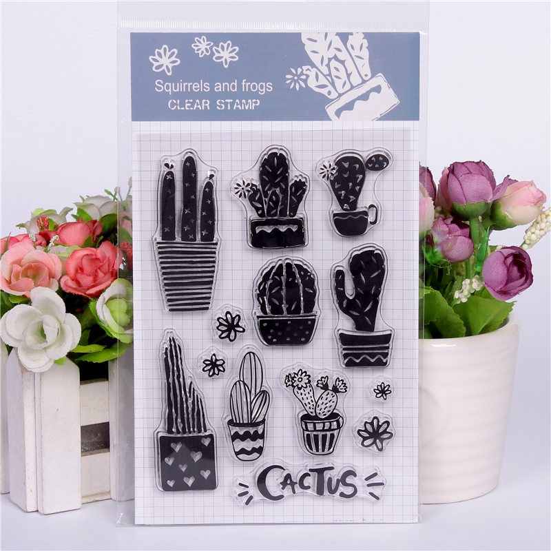 Rubber Silicone Clear Stamps for Scrapbooking Tampons Transparents Seal Background Stamp Card Making Diy Cactus assemblage Text цена и фото