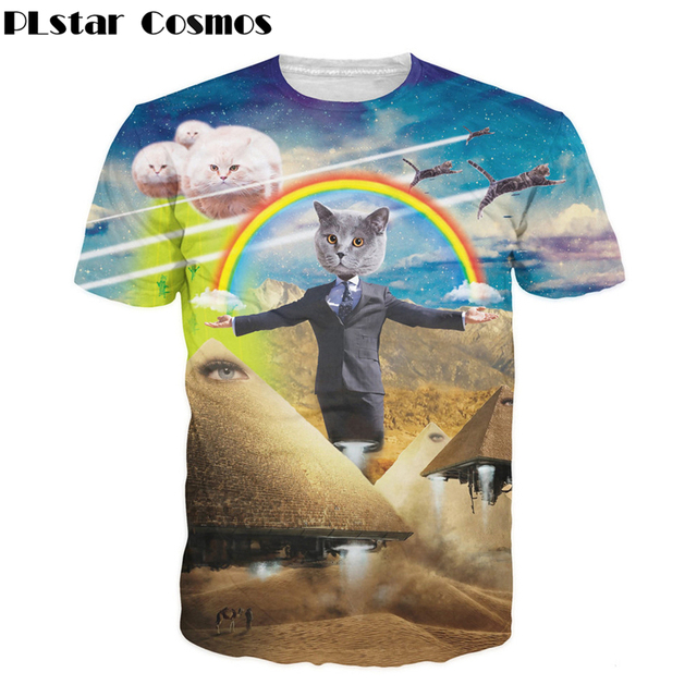 516629cb PLstar Cosmos 2017 Summer style Men/Women Meowy Christmas galaxy space  pizza cat 3d print. Mouse over to ...
