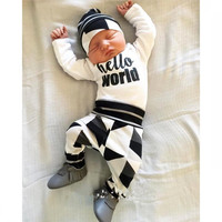 2017 Spring Newest Baby Clothing Set Boys Outfits Children Clothing Girls Tracksuit Top Pant Hat Striped