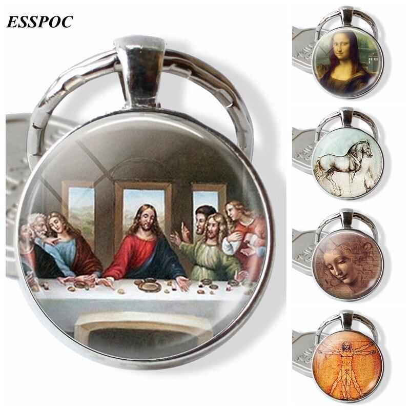 Da Vinci Painting Keychain The Last Super, Mona Lisa Glass Cabochon Key Chain Christmas Gift Art Accessories For Men Women