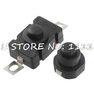 2pcs On/Off Position Flashlight Push Button Switch Black 250VAC 1.5A