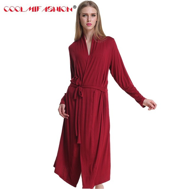 CooLMiFashion Soft Cotton Dressing Gowns Red Bathrobe For Women Bridesmaid  Robes Sleepwear Female Long Robe Sexy Nightgown femme c7717673f73f