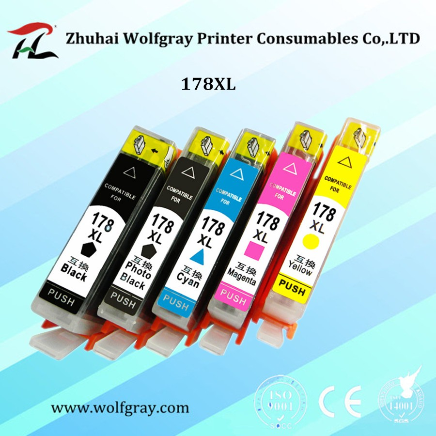 YI LE CAI 5PK compatible Ink Cartridge for HP 178 for HP178 178XL Photosmart 5510 5515 6510 7510 B109a B109n B110a Printer 2pcs for hp 564 564xl black printer ink cartridge for photosmart 7510 b8500 b8550 c5380 c6375 c6380 inkjet printer free shipping