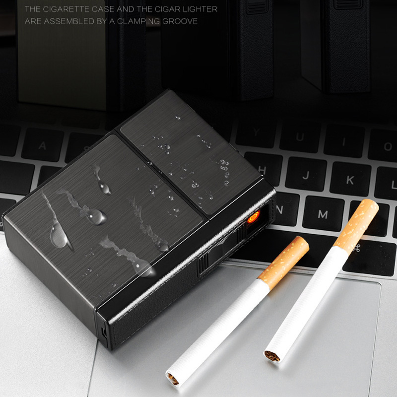 USB Rechargeable Smoking Cigarettes Box Portable Cigarette Box With Lighters Windproof Holder Lighter Gift Hogard