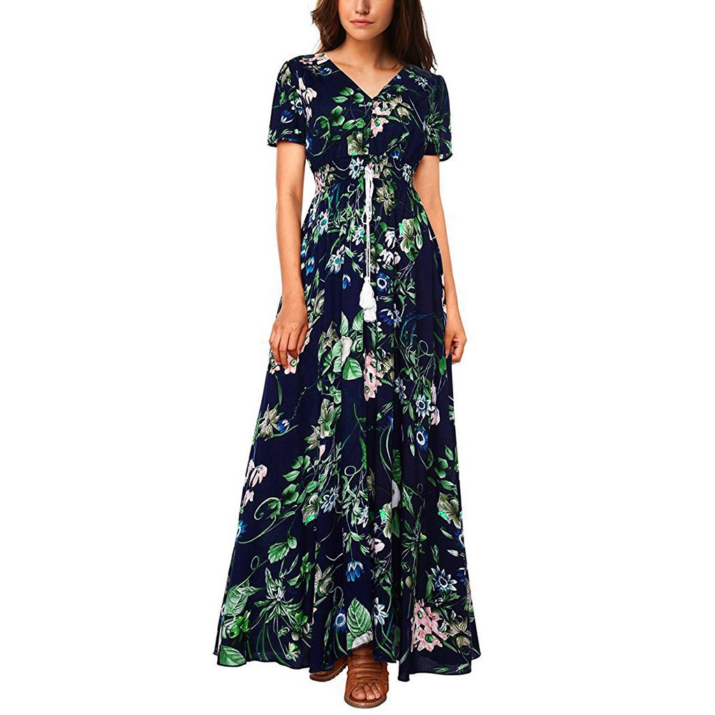 FREE OSTRICH Women Dress Cotton Floral Printed Button Up Short Sleeve Split Flowy Party Blue Trend Elegant Summer Long Dress