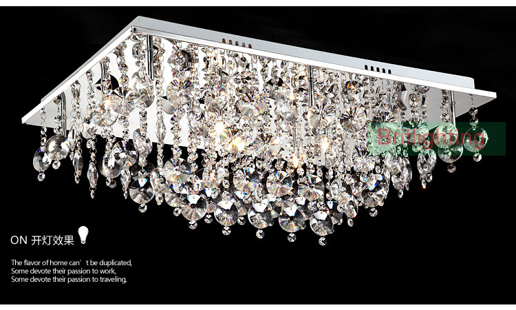 Modern Crystal Ceiling Lighting Rectangle Surface Mounted Contemporary Semi Flush Lamps Light In Lights From