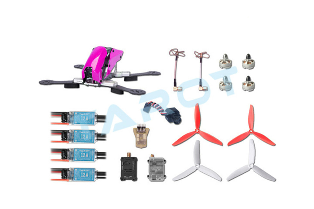 F16518 Tarot 280 Through FPV Quadcopter Drone Combo Set Carbon Fiber Frame TL280C with Mini CC3D ESC Motor Propeller Camera rc drones quadrotor plane rtf carbon fiber fpv drone with camera hd quadcopter for qav250 frame flysky fs i6 dron helicopter