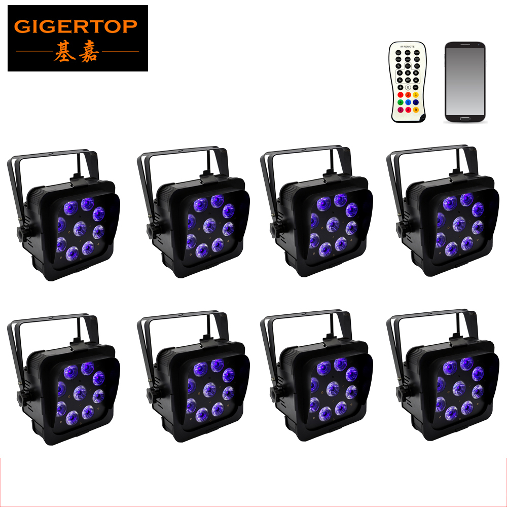 Freeshipping 8 Pack 9*18W RGBW Amber Purple High Power Black LED Flat Par Can Light IR Control Wireless Battery DMX512 6/10CH freeshipping rs232 to zigbee wireless module 1 6km cc2530 chip