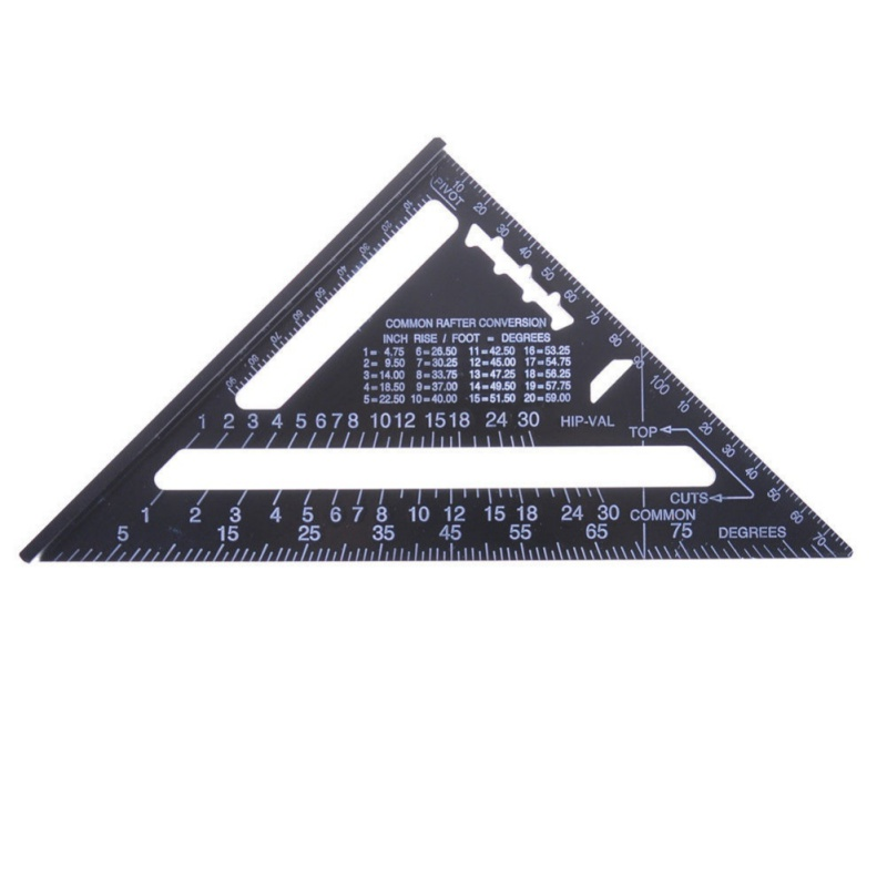 7 inch Imperial Metric Aluminum Alloy Triangle Ruler Right Angle Ruler Protractor Layout Tool For Home Builders DIY Artists