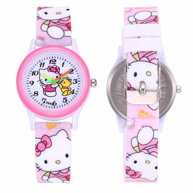 Pink Lovely Hello Kitty Children Small Watch Cute Cartoon Cat Kids Watches Silic