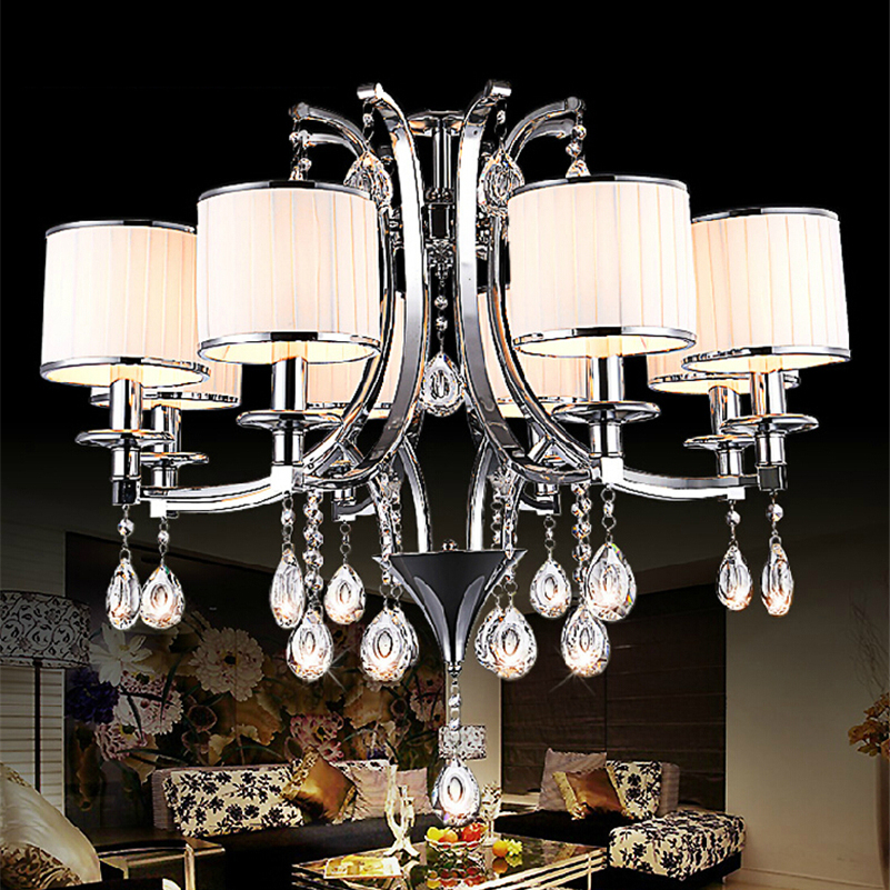 LED Nordic Lighting Stainless Steel and Fabric Shades 3/6/8 Head Crystal Pendant Lamp Dining Room E14 LED Candle Bulb Light настенный бордюр tubadzyn l steel 6 1 5x59 8