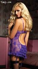 Alta Elasticidade Plus Size Rendas Trajes Sexy Lingerie Mulheres Transparente Backless Chemise Exotic Nightdress G-string Babydoll