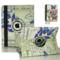Vintage butterfly flower pattern painted leather 360 degree rotating bracket cases for Apple ipad 2 3 4 Tablet case