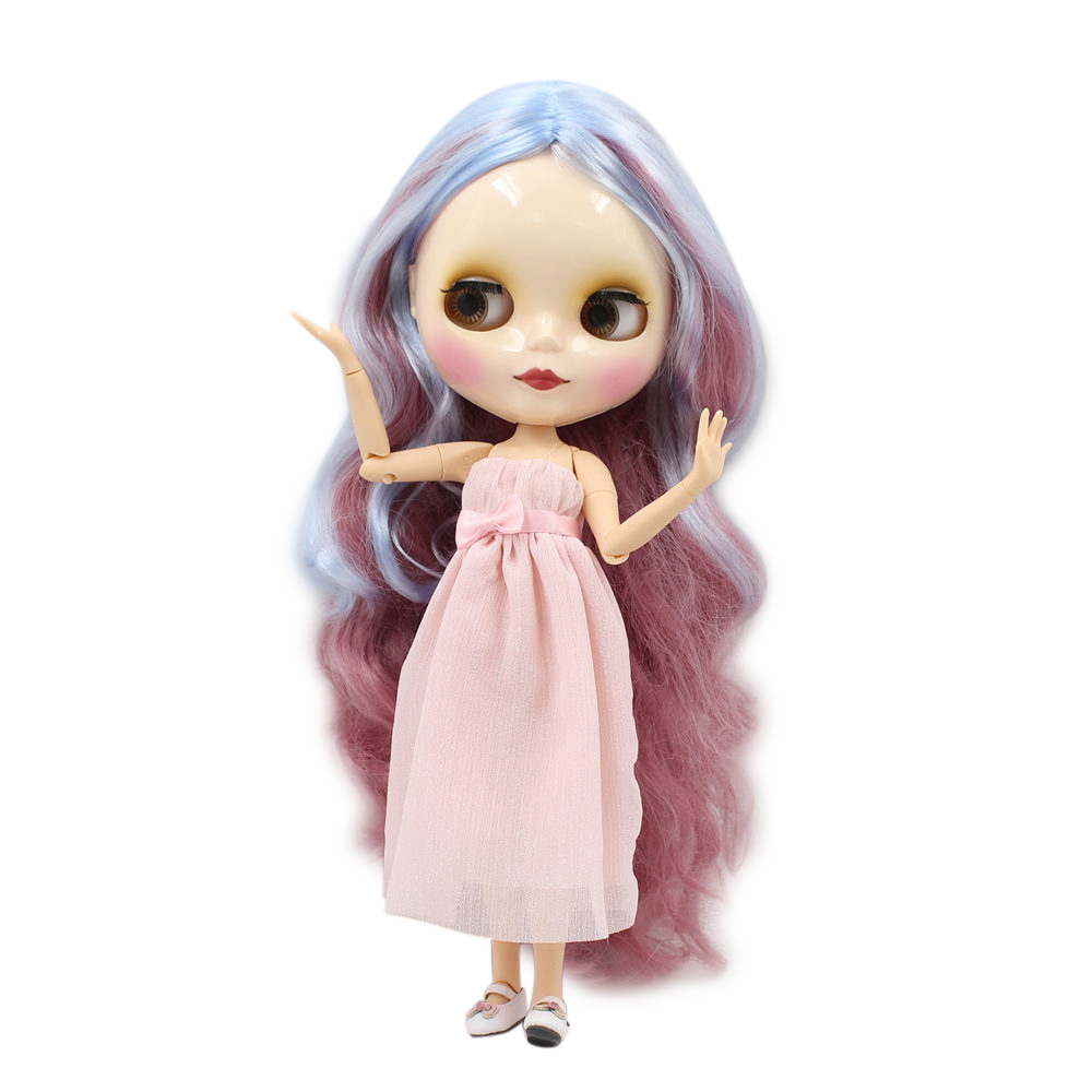 Dolls Blyth Doll Joint Doll Factory Doll Nude Bl1063/6005 Light Sky Blue Mix Pink Hair For Girl Toy