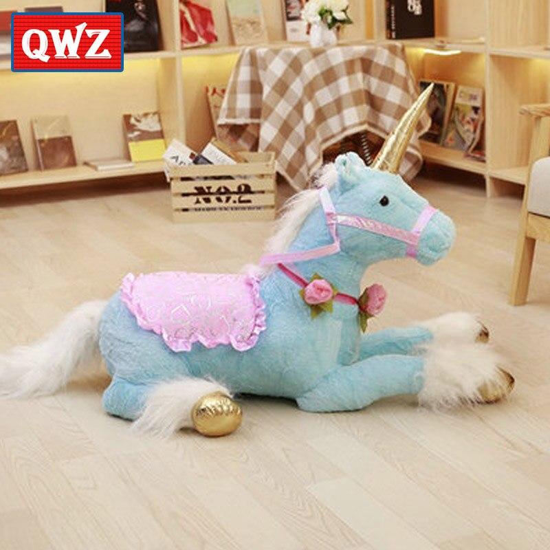 QWZ 100 cm gros animaux en peluche couché licorne en peluche jouet bleu licorne poupée de haute qualité cadeaux photographie accessoires décoration de la maison