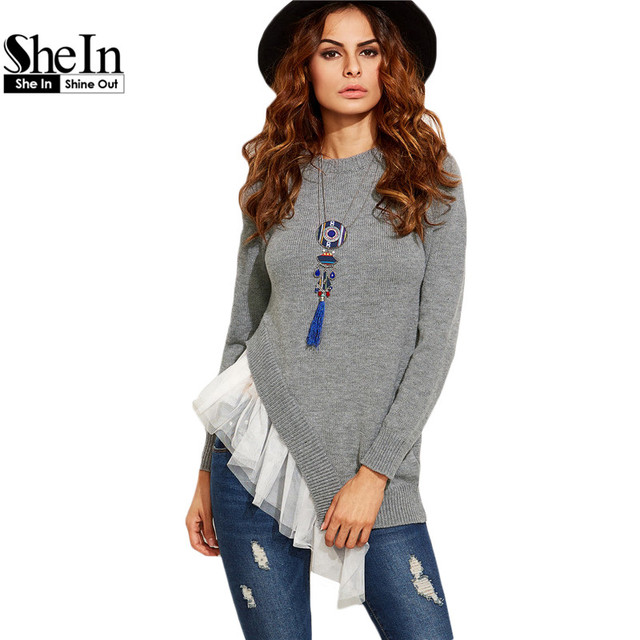 SheIn Womens Casual Pullovers For Autumn Ladies Grey Round Neck Long Sleeve Contrast Mesh Trim Asymmetric Pullover Sweater