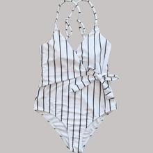 Women Bikini One Piece Cross Strappy White Black Striped