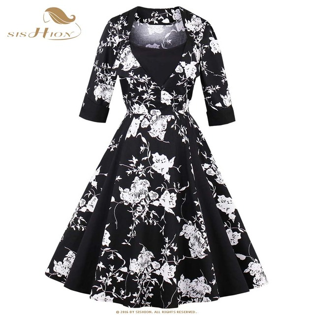 Sishion winter dress 34 long sleeve black white floral print casual sishion winter dress 34 long sleeve black white floral print casual 50s 60s retro mightylinksfo