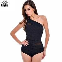 One Piece Swimsuit Women 2016 Summer Beachwear Mesh One Shoulder Sexy Swimwear Female Bathing Suit Bodysuit