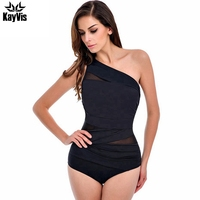 One Piece Swimsuit Women 2016 Summer Beachwear Mesh One Shoulder Sexy Swimwear Female Bathing Suit Bodysuit