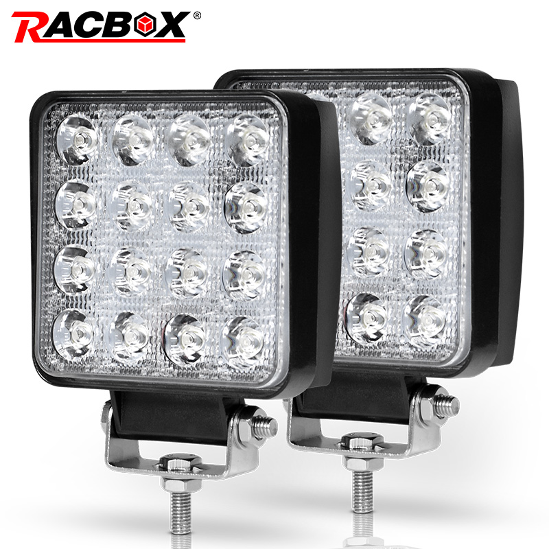 RACBOX 4 inch 48W LED Work Light Spot Flood 12V 24V 3300LM Car SUV Truck Mining Square LED Working Light Driving Lamp Worklight 2pcs set square 27w car led work light 30 degree spot lamp for working driving off road spot light boat suv truck car