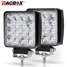 Racbox 4 дюймов 48 Вт светодио дный Светлое пятно Наводнение 12 В 24 В 3300LM автомобиля внедорожник самосвал карьерный квадратный светодио дный рабочих дальнего света лампы Worklight