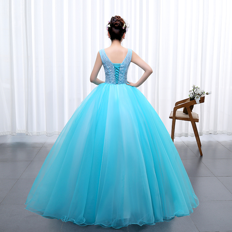 OPZC Color yarn Princess Blue New Wedding Dress 2017 Sexy V Neck for Party  Chorus host Fleabane Bitter Stage Studio Photo-in Wedding Dresses from  Weddings ... 59390031a52b