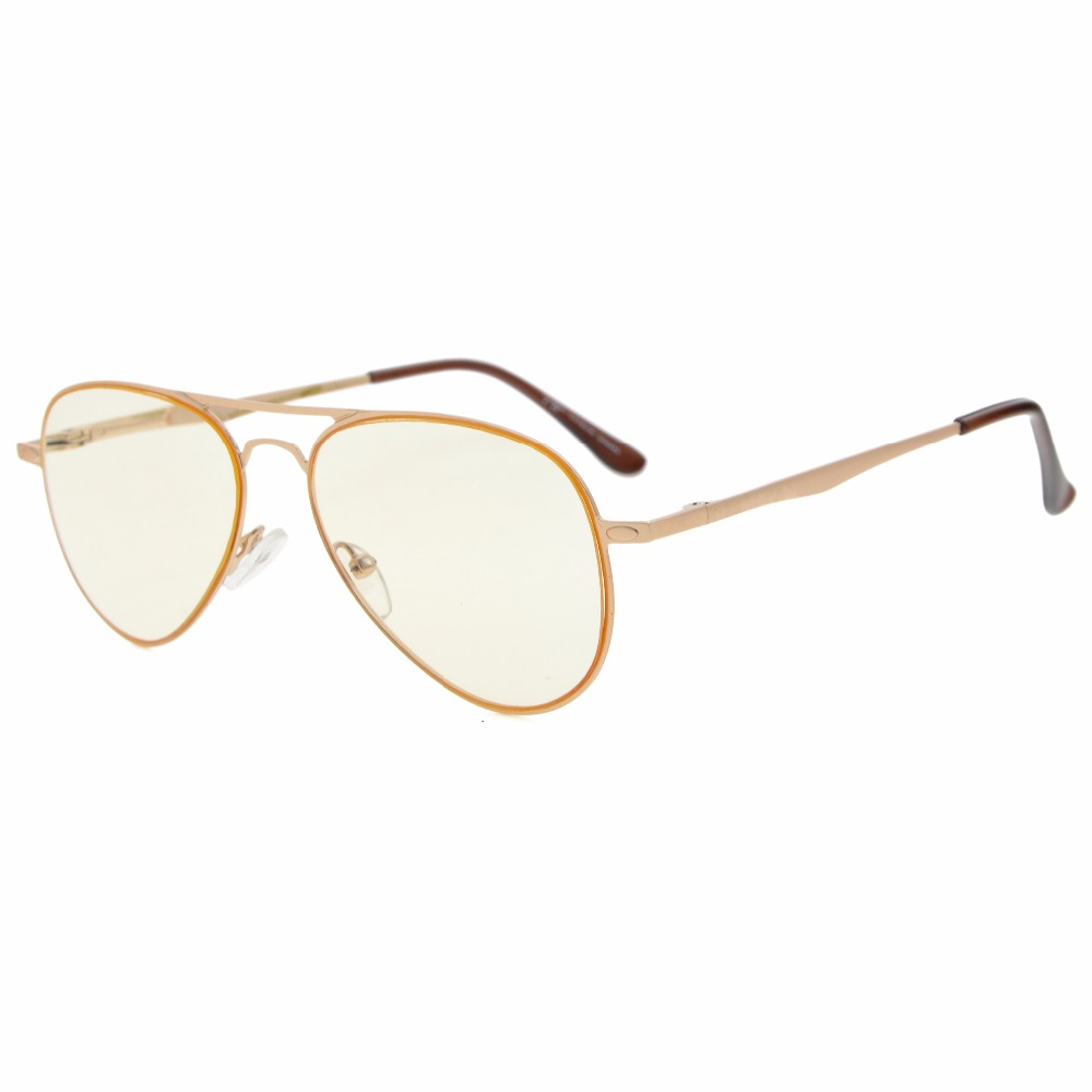 CG15036 Quality Spring Temples Computer Glasses Pilot Style Computer Reading Glasses Computer Eyeglasses Amber Tinted Lens