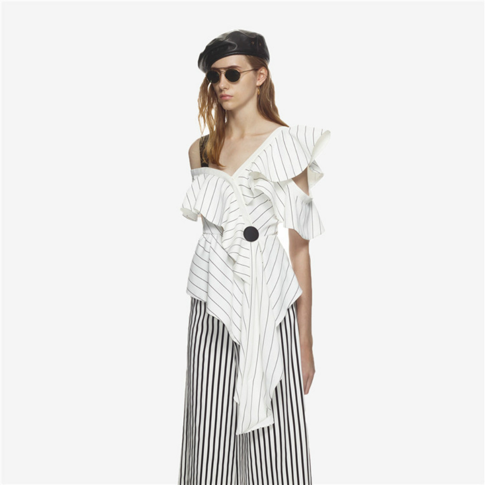 ebd8b1fb94 Irregular Personality Self Portrait Blouse Striped 2018 Women s Designer  Sexy Strap Skew Collar Butterfly Sleeves Female Top New