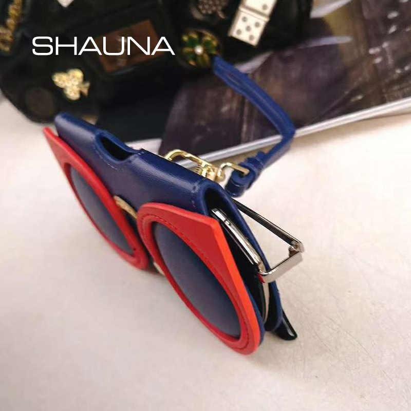 b576ef702361 ... SHAUNA Unique PU Leather Glasses Bag Ins Popular Cute Cartoon  Multi-function Eyeglasses Case Women ...