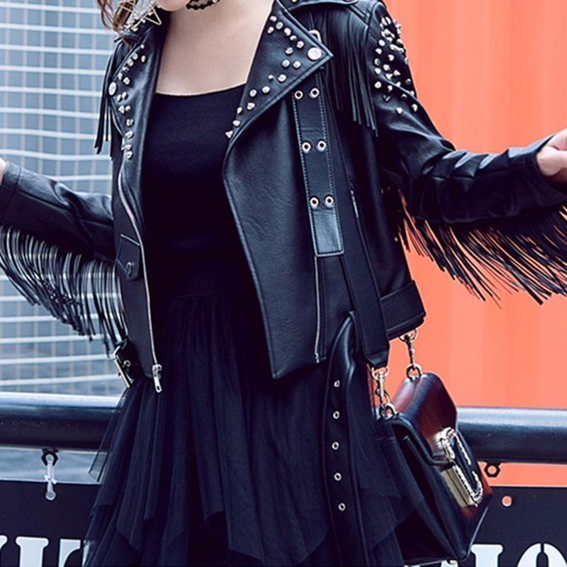 Leather Jacket Women Fringed Rivet Punk PU Leather Jacket Locomotive Short Coat Motorcycle Outerwear Ladies Female Coats PY44