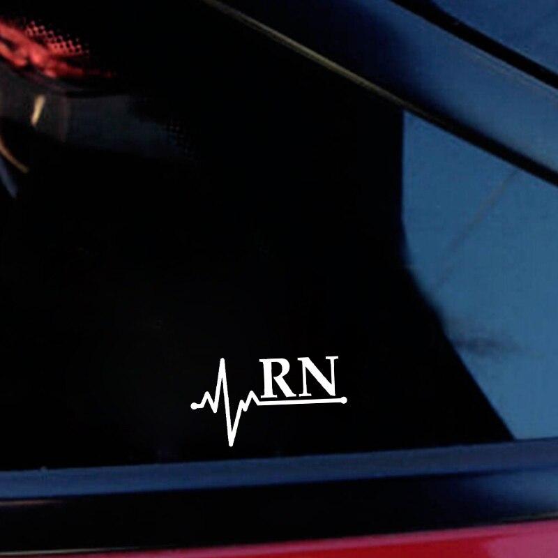 QYPF 13.2CM*7.5CM Fashion RN Lifeline High-quality Vinyl Car Window Sticker Decal Black Silver C15-3210