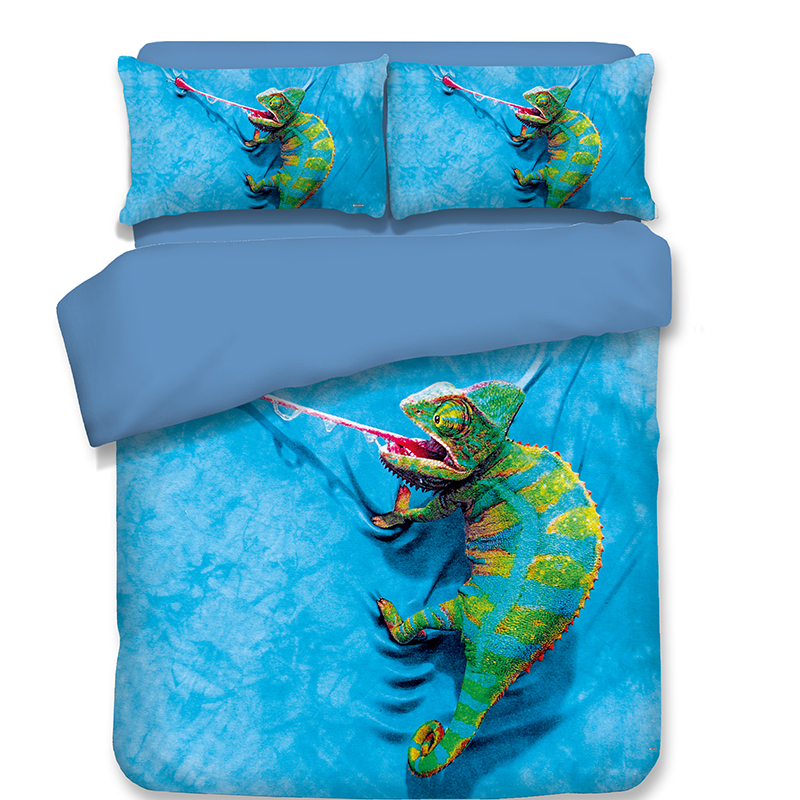Carrtoon Chameleon Bedding Sets 3pcs soft blue bedclothes duvet cover pillow cases quilt cover Teenager Boys Bedroom SetCarrtoon Chameleon Bedding Sets 3pcs soft blue bedclothes duvet cover pillow cases quilt cover Teenager Boys Bedroom Set