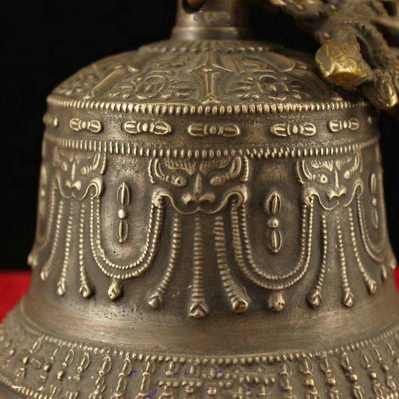Décoration de mariage 6 recueillir Tibet bouddhisme Temple cuivre Bronze Dragon Statue suspendue cloche Chung - 4